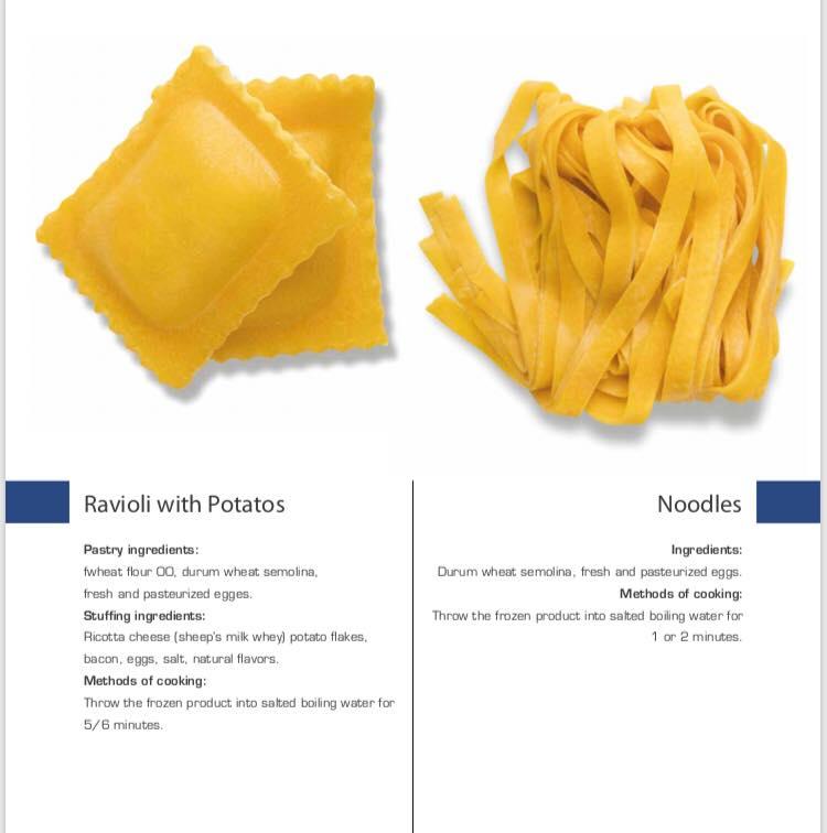 Sell Italian frozen pasta/noodles