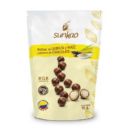 Ball of quinua and corn covered with 55% Cacao chocolate, Healthy snack 100% Ecuatorian 35g/120g